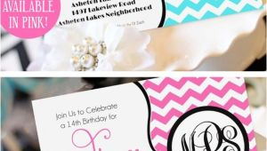 Invitations for Teenage Girl Birthday Party Teen Girl Birthday Invitation Monogram Birthday Invitation