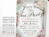 Invitations to Tea Party Samples Birthday Tea Party Invitation Template Vintage Rose Tea