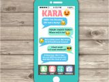 iPhone Party Invitation Template Cell Phone Emoji Sleep Over Teen Invitation Tween 12th