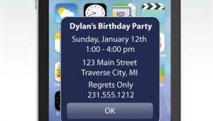 iPhone Party Invitation Template iPhone Alert Birthday Invitation Unique Birthday Party