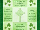 Irish Baptism Invitations Irish Shamrock Baptism Invitation Celtic Cross Green