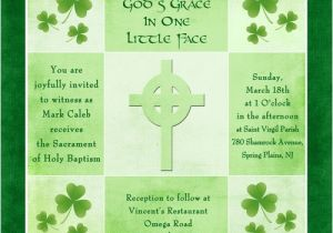 Irish Baptism Invitations Irish Shamrock Baptism Invitation Celtic Cross Green