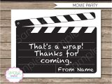 It Works Wrap Party Invitation Template Movie Party Favor Tags Thank You Tags Birthday Party
