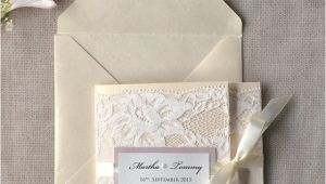 Ivory Pocketfold Wedding Invitations Ivory Lace Wedding Invitation Pink Wedding Invitation