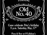 Jack Daniels 40th Birthday Invitations Jack Daniels Invitation for Alcohol theme Bday