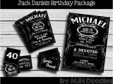 Jack Daniels 40th Birthday Invitations Jack Daniels Party Package Invitation Cupcake toppers Food