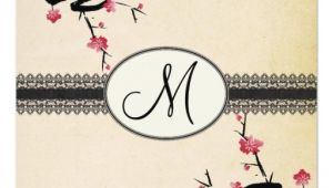 Japanese Cherry Blossom Wedding Invitations Monogram Japanese Cherry Blossom Wedding Invitation Zazzle