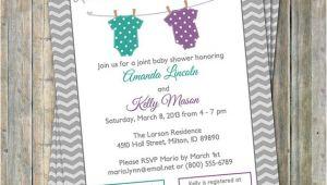 Joint Baby Shower Invites Joint Baby Shower Invitation Polka Dot Onesies Purple and