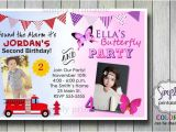 Joint Party Invitation Template Firetruck butterfly Joint Birthday Invitation for Boy and Girl
