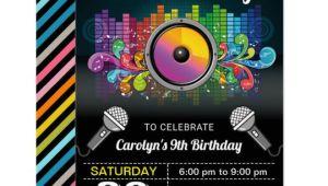Karaoke Party Invitation Template Karaoke Party Colorful Music Birthday Invitation