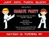 Karate Party Invitation Template Karate Birthday Party Invitations
