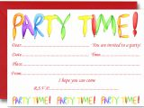Kid Party Invitation Template Free Birthday Party Invites for Kids Free Printable