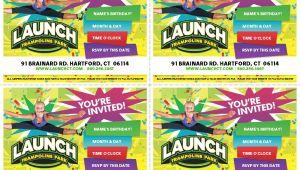 Launch Trampoline Park Birthday Invitations Invites