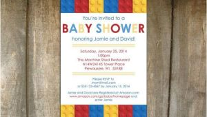 Lego themed Baby Shower Invitations Lego Building Blocks Baby Shower Invitation On Etsy $20