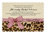 Leopard Graduation Invitations Leopard Print Pink Bow Graduation Party Invitation Zazzle