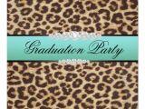 Leopard Graduation Invitations Teal Leopard Graduation Party Custom Invitations Zazzle