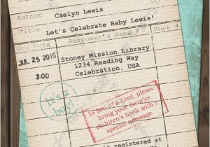 Library themed Baby Shower Invitations Library Card Baby Shower Invitation Book theme by