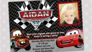 Lightning Mcqueen and Mater Birthday Invitations Disney Cars Lightning Mcqueen and Mater Photo Birthday