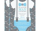Lil Man Baby Shower Invitations Little Man Baby Shower Invitation Baby Blue Gray Card