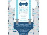 Lil Man Baby Shower Invitations Little Man Baby Shower Invitation Baby Blue Navy Card