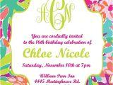 Lilly Pulitzer Birthday Invitations Lilly Pulitzer Inspired Invitation Printable Digital