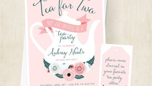 Little Girl Tea Party Invitation Ideas Tea for Two Birthday Invitation Little Girls Tea Party