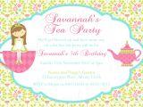 Little Girl Tea Party Invitation Ideas Tea Party Birthday theme Printable Invitation and Gift Favor