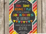Little Gym Party Invitations Bright Colors Little Gym Birthday Party Invitation Bounce