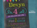 Little Gym Party Invitations Chalkboard Bounce Birthday Invitation Tumble Jump Flip