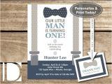 Little Man Birthday Invitation Template Little Man First Birthday Party Invitation Bow by