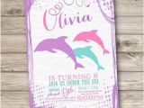 Little Mermaid Pool Party Invitations Dolphin Invitations Shabby Chic Little Mermaid Silhouette