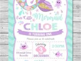 Little Mermaid Pool Party Invitations Little Mermaid Invitations Invite 1st First Birthday Party