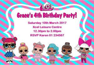 Lol Birthday Invitation Template Personalised Lol Surprise Dolls Invitations