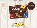 M and M Birthday Invitations Free Printable M&m Birthday Party Invitations