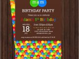 M and M Birthday Invitations M and M Birthday Invitations Chocolate Party by
