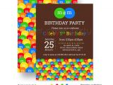 M and M Birthday Invitations M and M Birthday Party Invitations Kids Colorful Candy