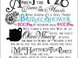 Mad Hatter Bridal Shower Invitation Wording Bridal Shower Invitations Free Mad Hatter Bridal Shower