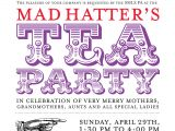 Mad Hatter Tea Party Invitation Wording Alice's Adventures In Typography