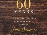 Male Birthday Invitation 60th Birthday Dark Wood Gold Foil Male Birthday Invitation