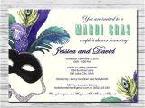 Mardi Gras Bridal Shower Invitations Masquerade Mardi Gras Bridal Shower Invitation by