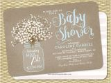 Mason Jar Baby Shower Invitation Template Baby Shower Invitation Baby Boy Mason Jar Baby S Breath