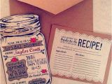 Mason Jar Bridal Shower Invitations with Recipe Cards Custom Bridal Shower Mason Jar Invitations with Twine by