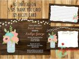 Mason Jar Bridal Shower Invitations with Recipe Cards Rustic Mason Jar Bridal Shower Invitation Recipe Card