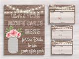 Mason Jar Bridal Shower Invitations with Recipe Cards Rustic Mason Jar Recipe Cards and Sign Bridal Recipe Card