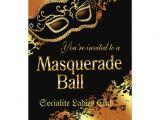 Masquerade Ball Party Invitations Wording Custom Metallic Gold Masquerade Ball Invitation