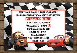 Mater Birthday Invitations Cars Birthday Party Invitation Lightening Mcqueen by