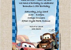 Mater Birthday Invitations Cars Lightning Mcqueen Mater Birthday Invitations