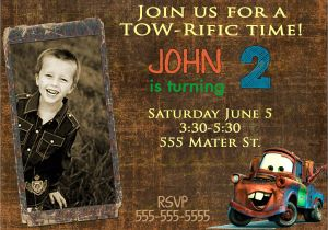 Mater Birthday Invitations Disney Inspired Cars tow Mater Birthday Invitation