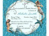 Mermaid Bridal Shower Invitations Mermaid Teal Blue Floral Bridal Shower Invites 5 25