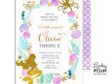 Mermaid Party Invitation Template Mermaid Birthday Invitation Little Mermaid Invitation